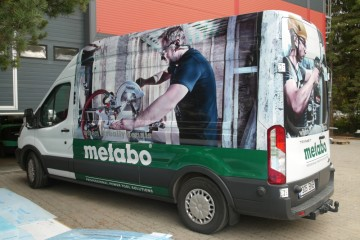 Digitrükk - Metabo tööriistabussi katmine trükitud kleebistega 3